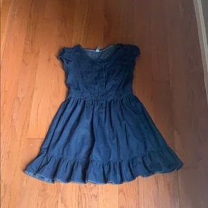 Girls button down dark wash denim dress.